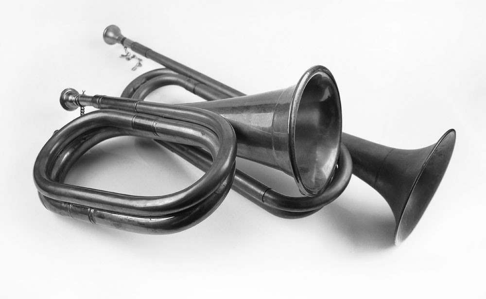 Black And White Bugles Art | Instrumental Art
