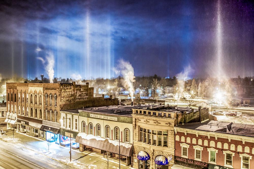 Light Pillars Over Charlotte