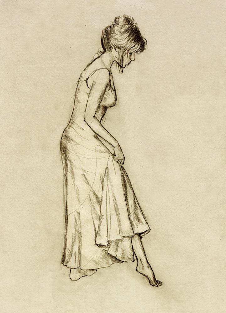Sepia female drawing art print