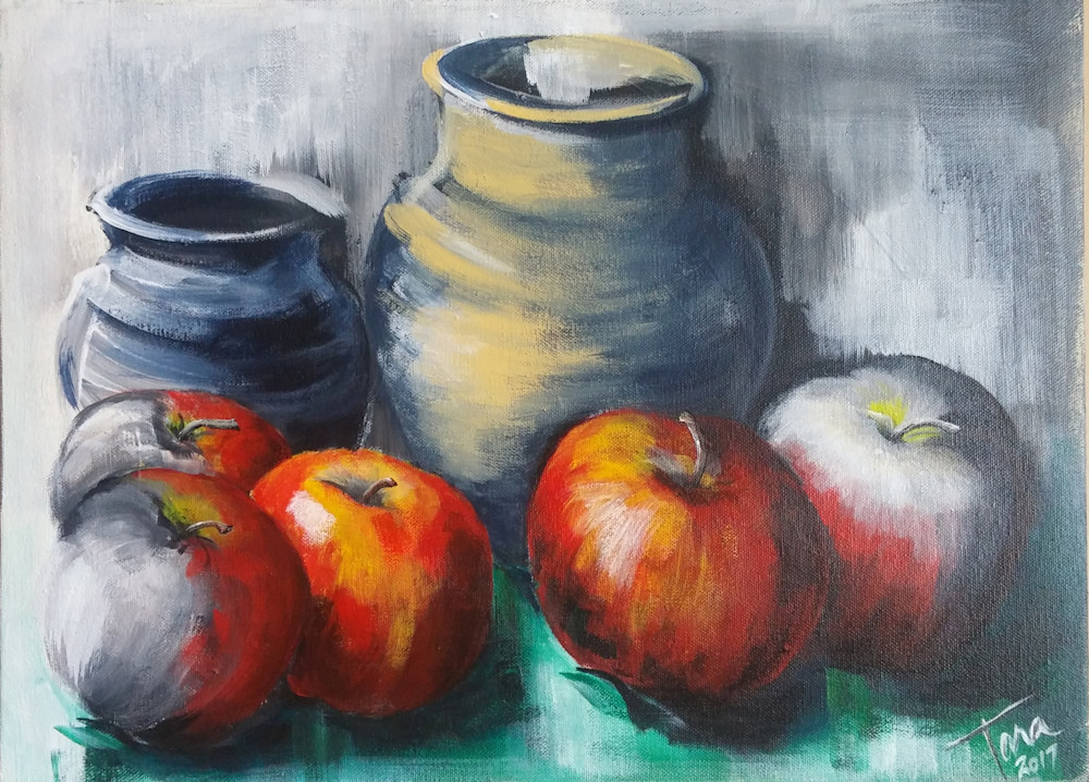 Composition with Apples and Pottery