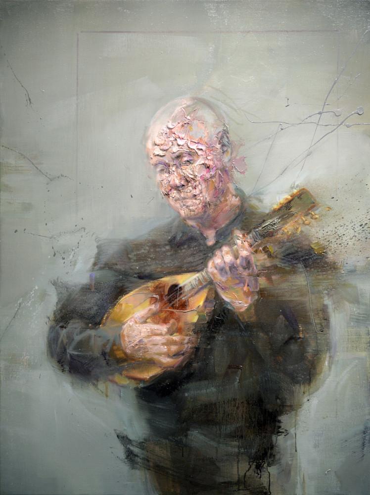 Jean à la mandoline | Portrait du peintre contemporain Mathieu Laca