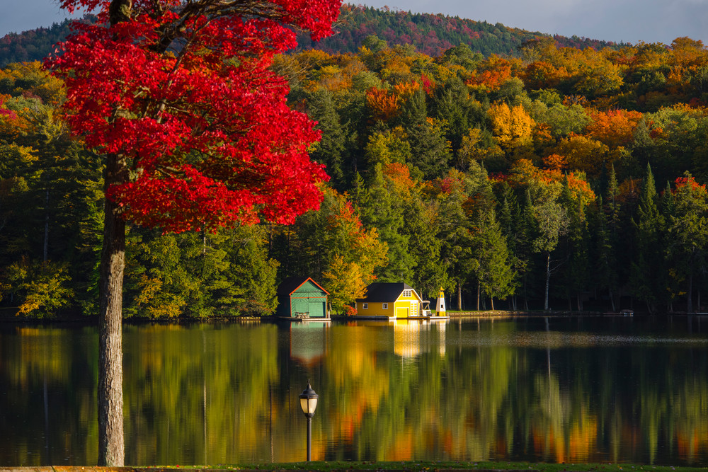 Yellow Boat House Old Forge Pond Fall