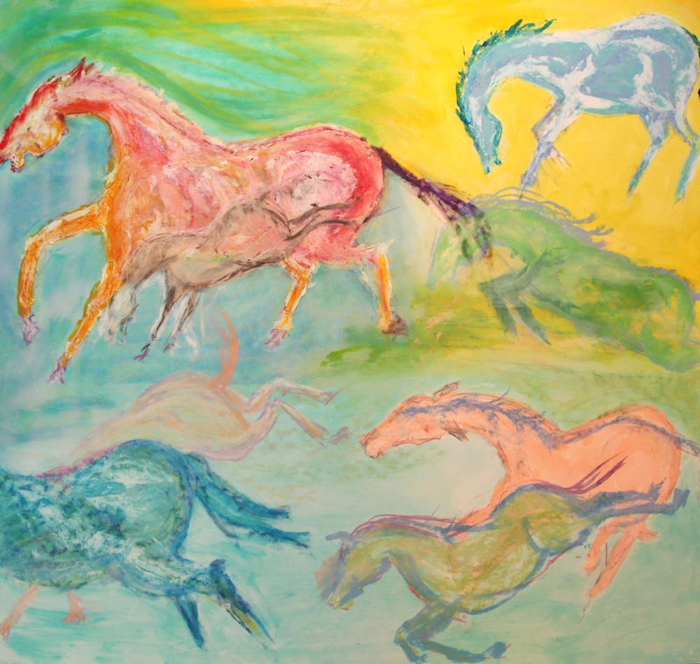 Seven Horses Running With Foal