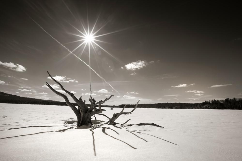 Frozen Stillwater Reservoir in the Adirondack mountains