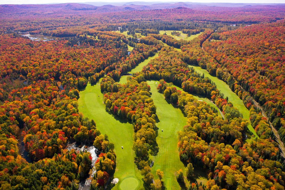 Thendara Golf Course Fall Aerial 1 Photography Art | Kurt Gardner Photogarphy