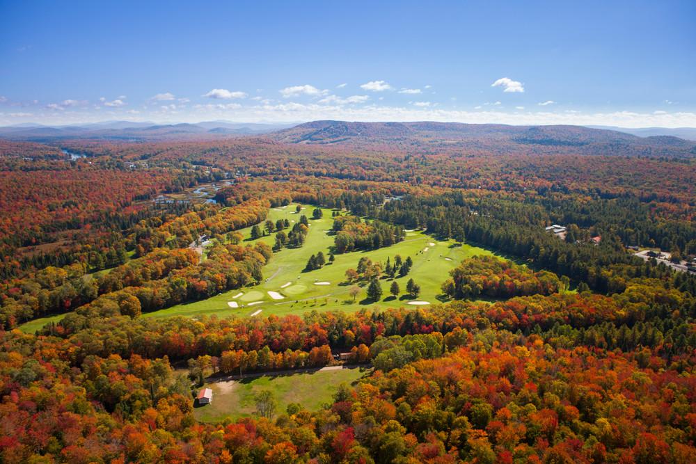 Thendara Golf Course Fall Aerial 2 Photography Art | Kurt Gardner Photogarphy