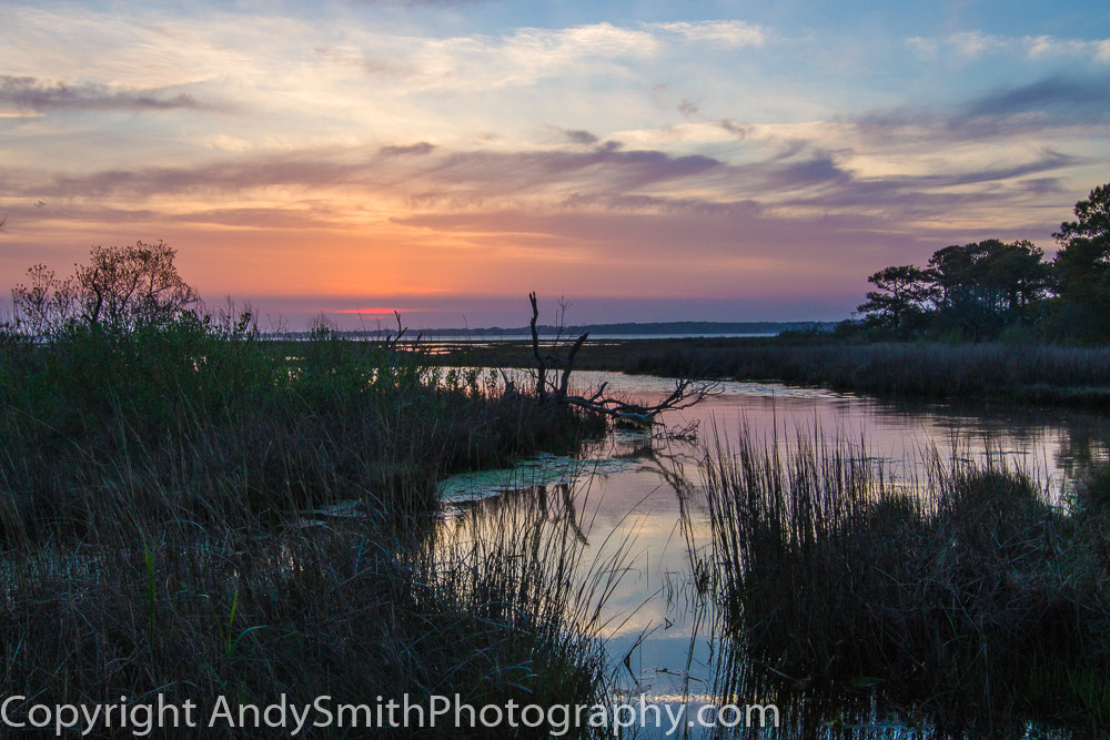 fine art photograph of setting sun at Assateague Island