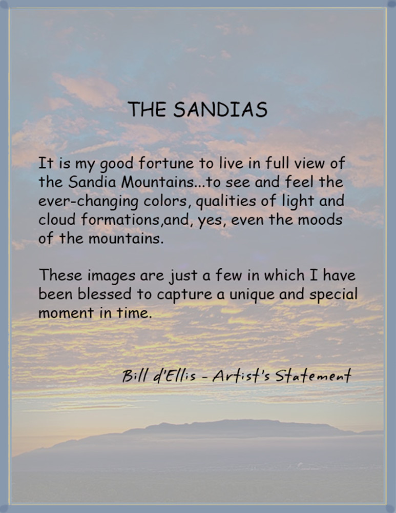 Sandia Skyscapes portfolio, d'Ellis Photographic Art photographs, Bill