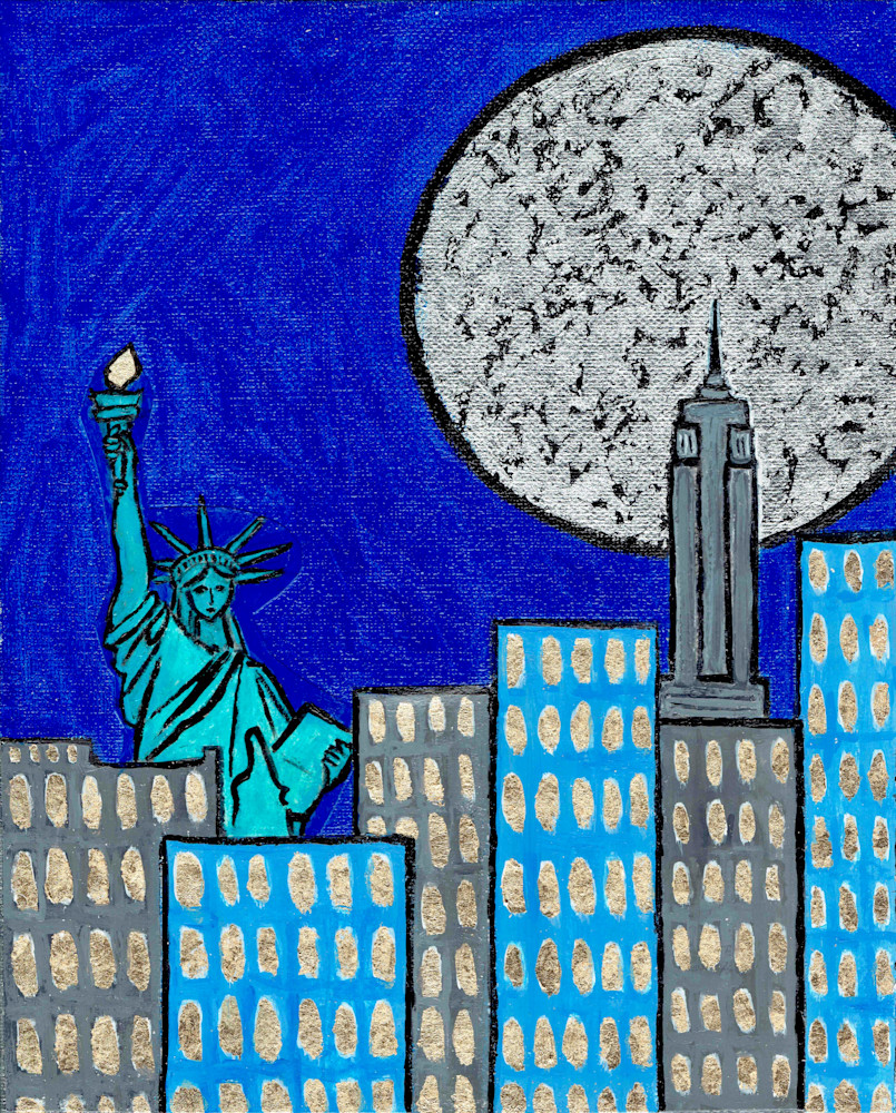 New York Supermoon by Wet Paint NYC Artist Paul Zepeda