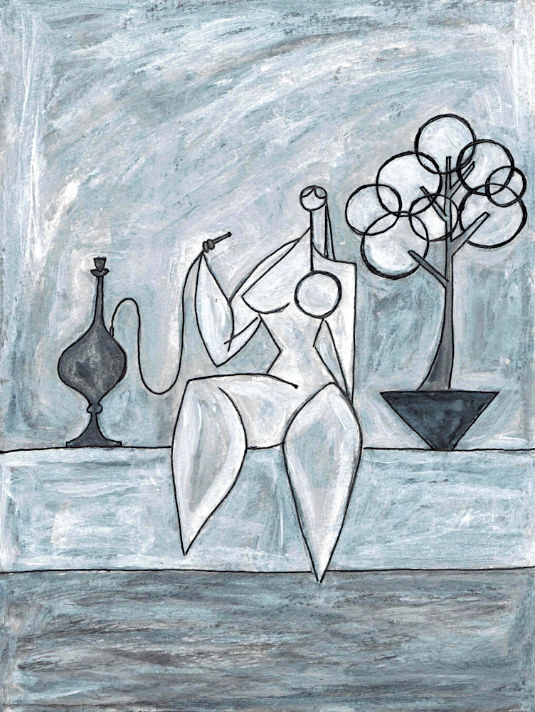 Poolside with Hookah in Black & White Painting by Wet Paint NYC Artist Paul Zepeda