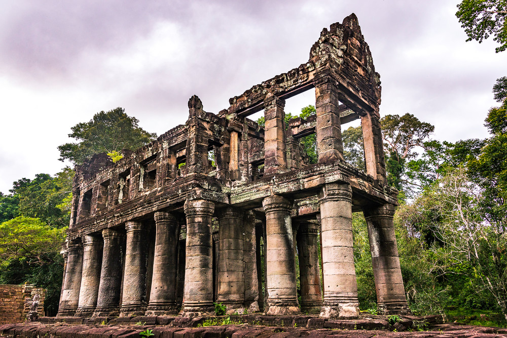Standing Firm. An ancient ruin at the Temples of Angkor Wat.