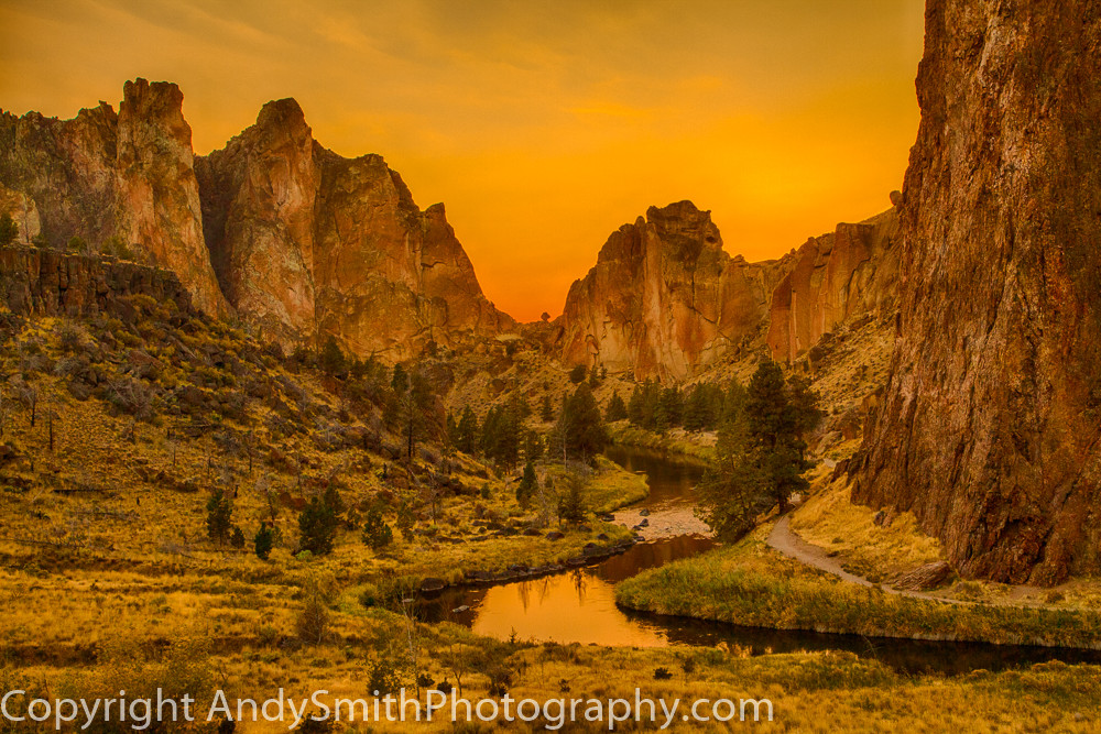 fine art photograph of sunset  glow at Smith Rock