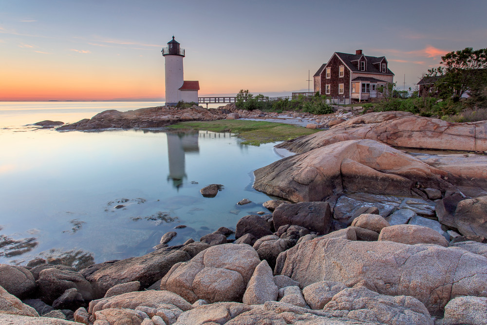 """Annisquam Lighthouse Sunset"" Gloucester Massachusetts Fine Art Coastal Photography"