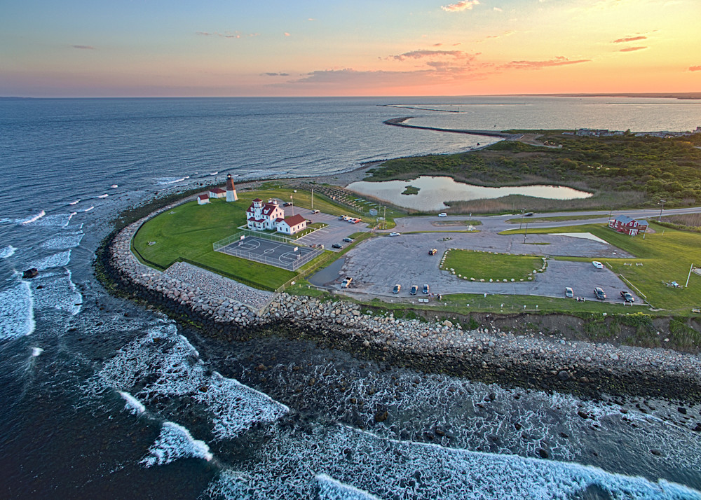 """Aerial Sunset over Point Judith"" Fine Art Narragansett Rhode Island Ocean Lighthouse Photograph"