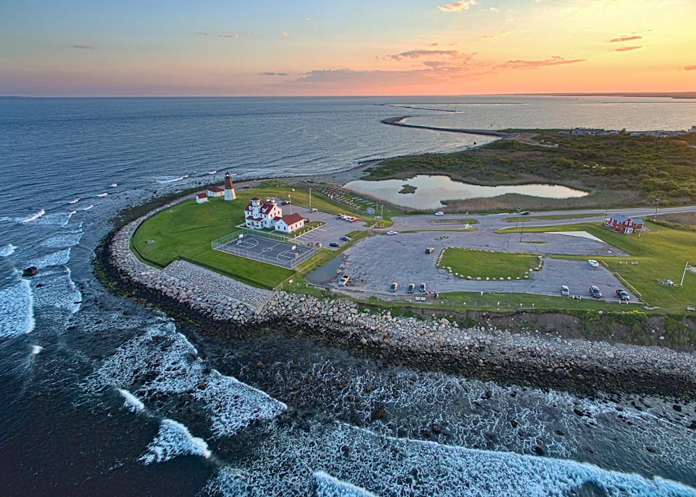 """""""Aerial Sunset over Point Judith"""" Fine Art Narragansett Rhode Island Ocean Lighthouse Photograph"""