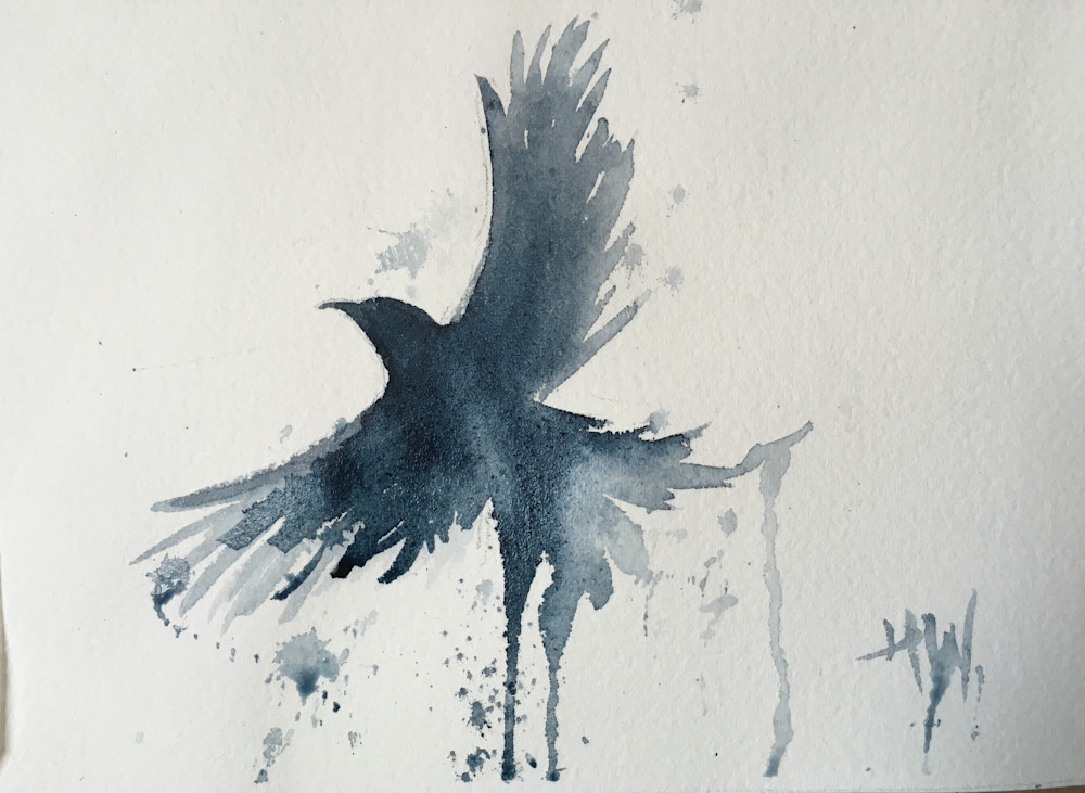 Crow in flight watercolor painting