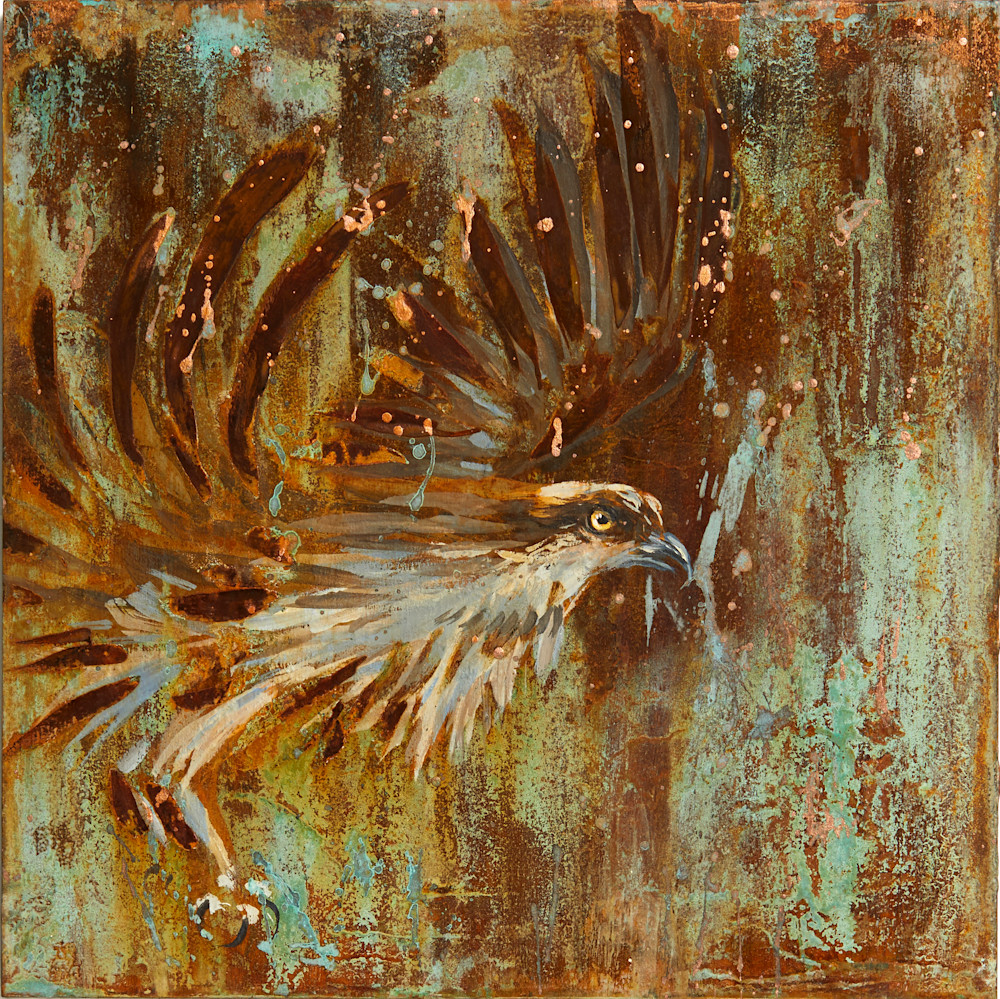 Osprey emerging semi-abstract painting for sale