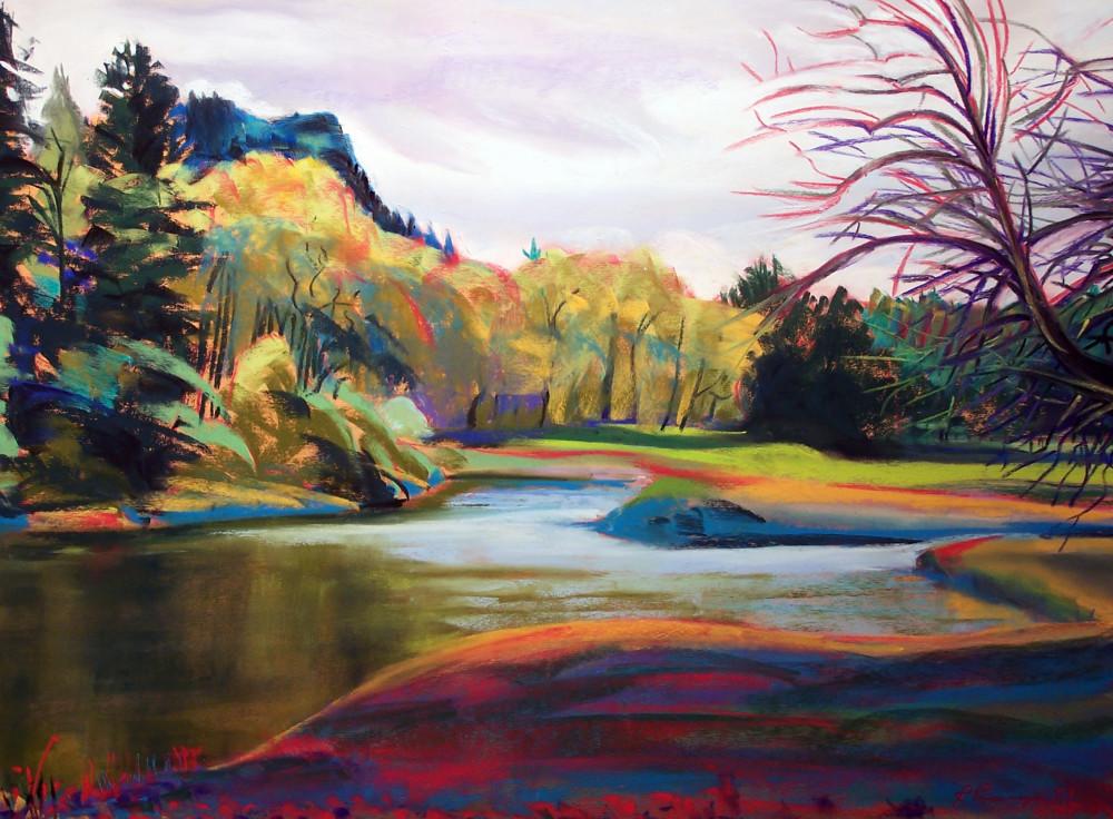 landscape painting columbia river gorge beacon rock