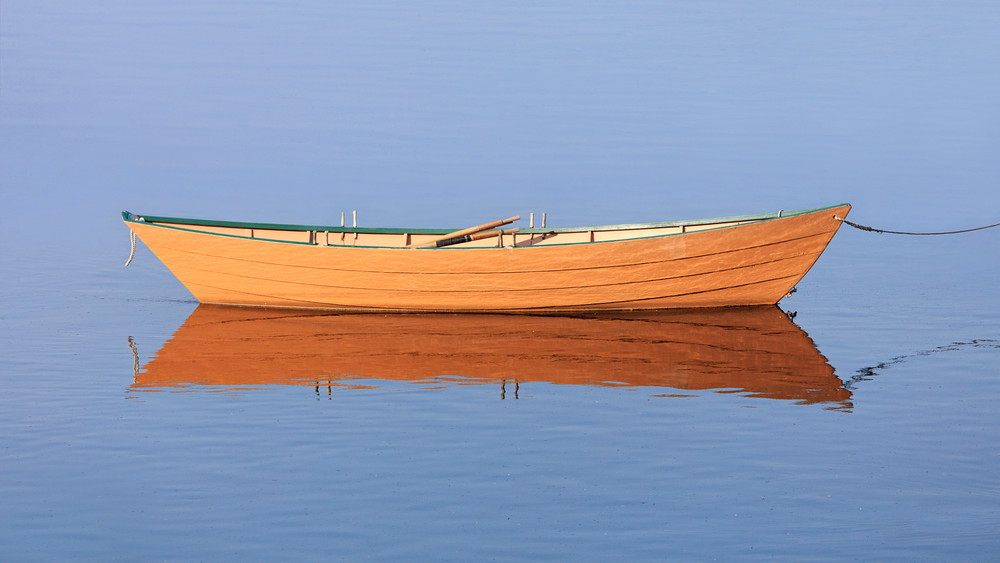 """Sunlit Dory"" Fine Art Yellow Wooden Boat, Nautical Photograph"