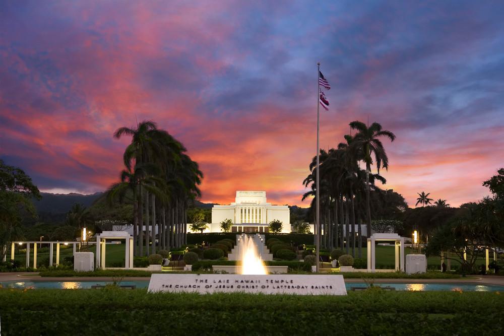 Laie Hawaii Temple - Sunset