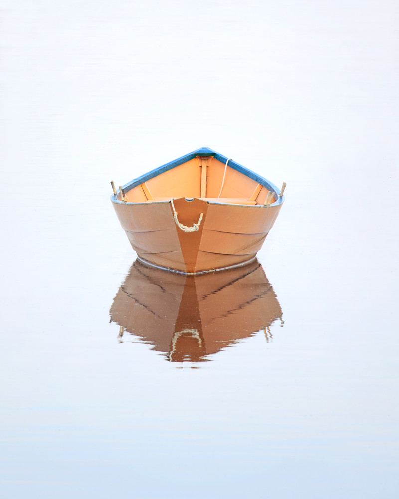 """""""Dory in Fog"""" Yellow Wooden Rowboat, Fine Art Nautical Photography"""