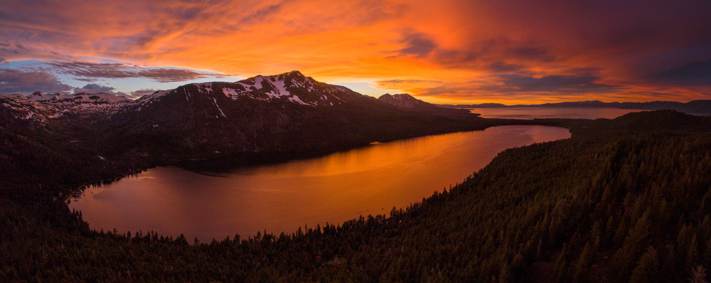 Burning Reflections - Fallen Leaf Lake Sunset Aerial Print
