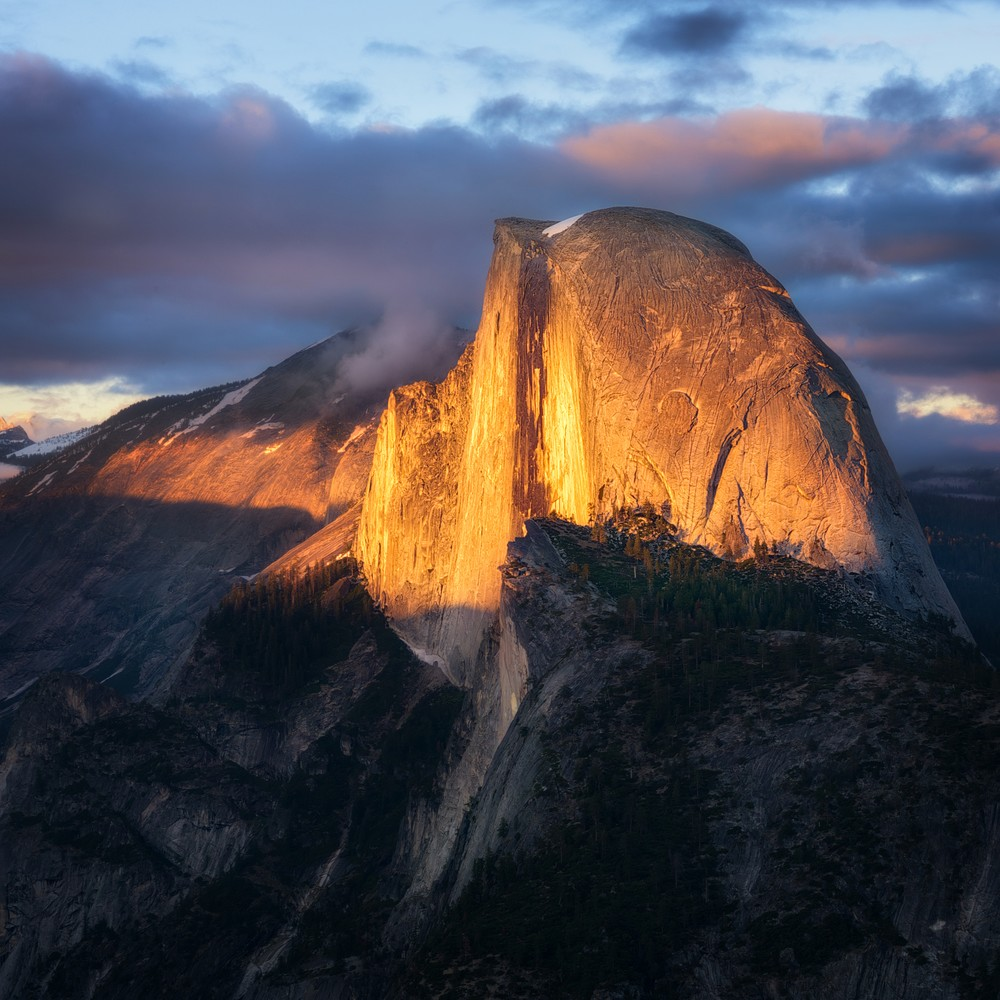 Final light on Half Dome