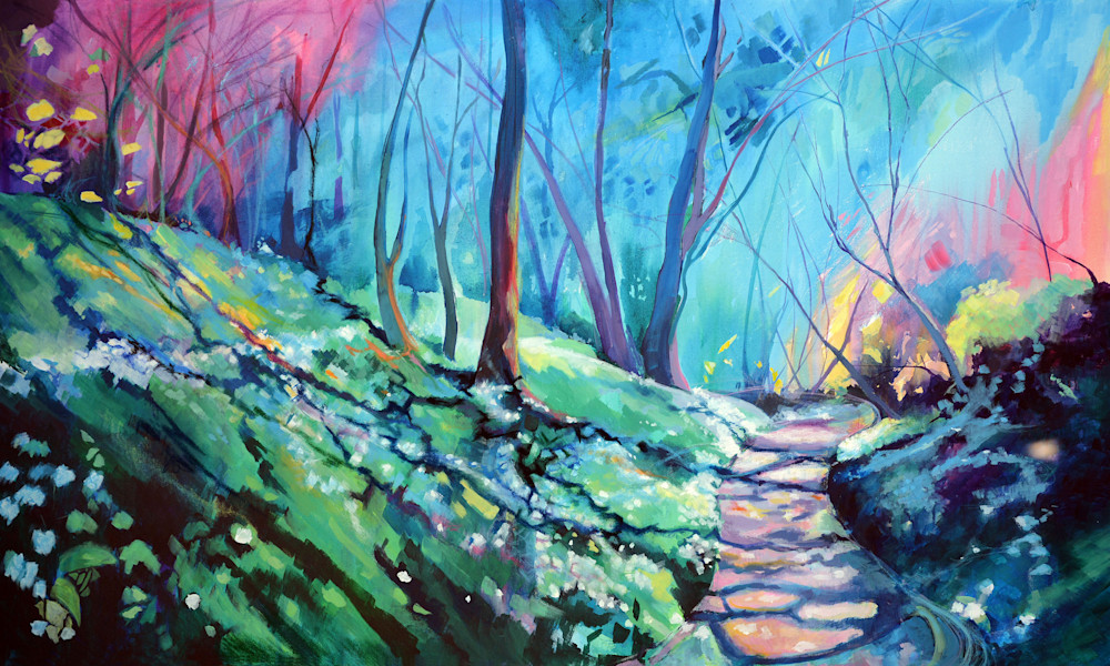 Colourful woodland fine art print.