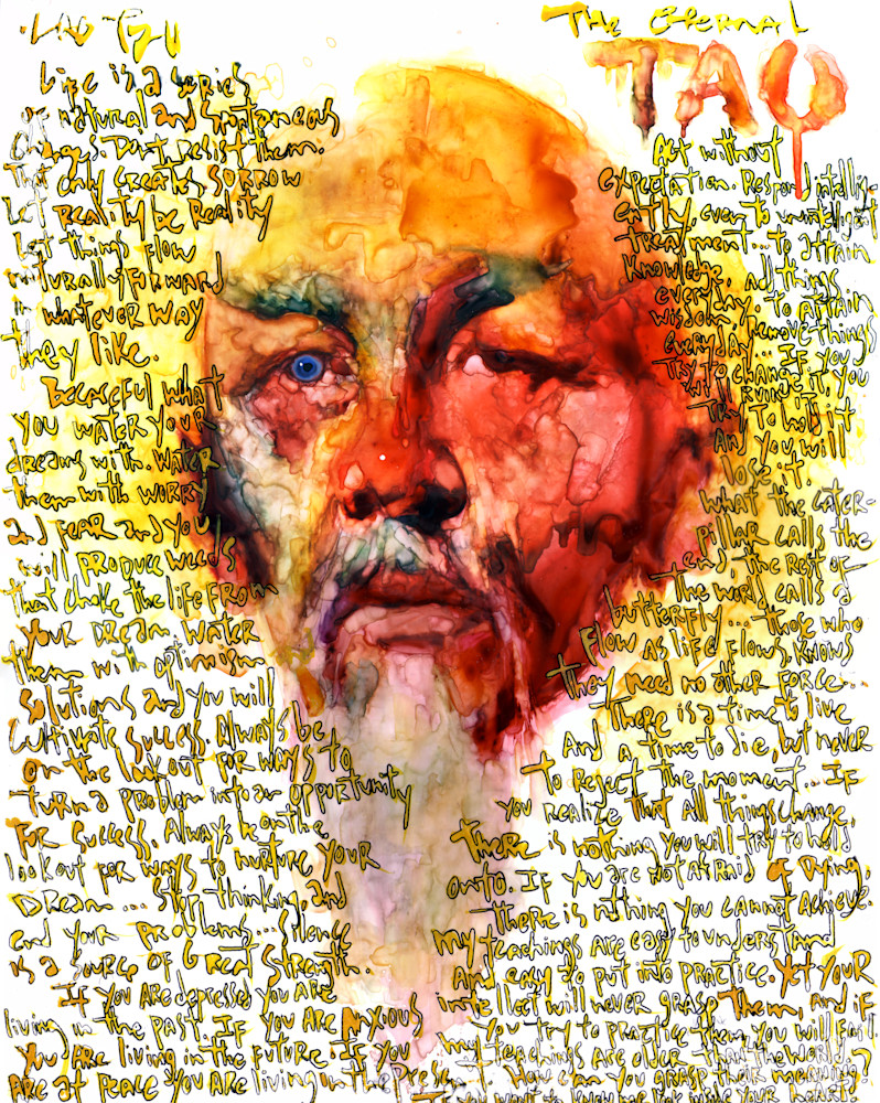 Lao Tzu- Portrait in Watercolor- by Akira Beard