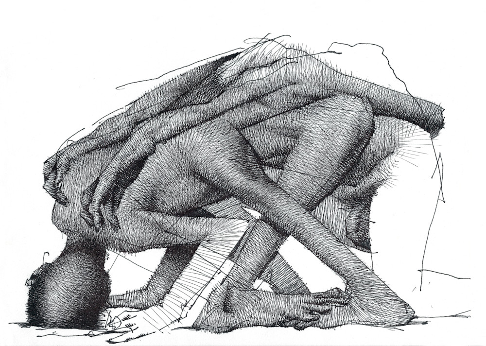 Life Drawing-pen and ink-by Akira Beard