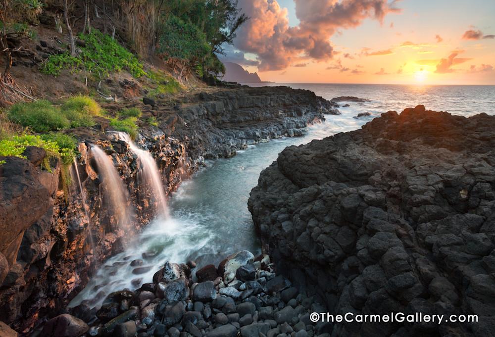 Queen's Bath Waterfall Kauai at sunset