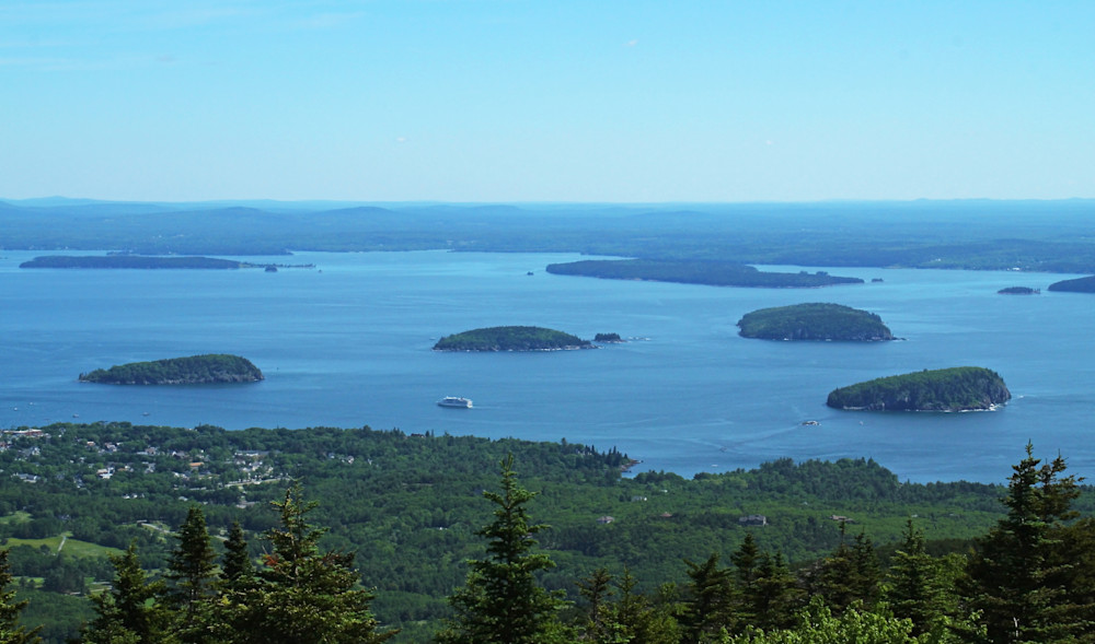 "Acacia National Park--in Bar Harbor Maine   ""Porcupine Islands"" view from top of Cadillac  Mountain 1500 Ft."