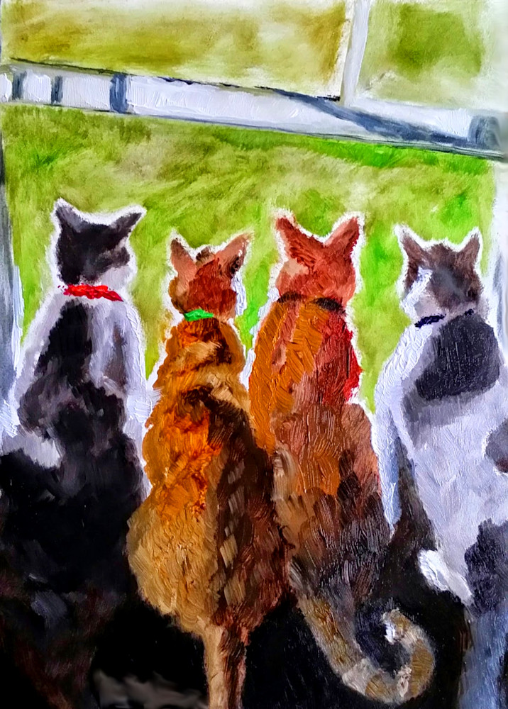 Painting of Four Cats on a Window Sill