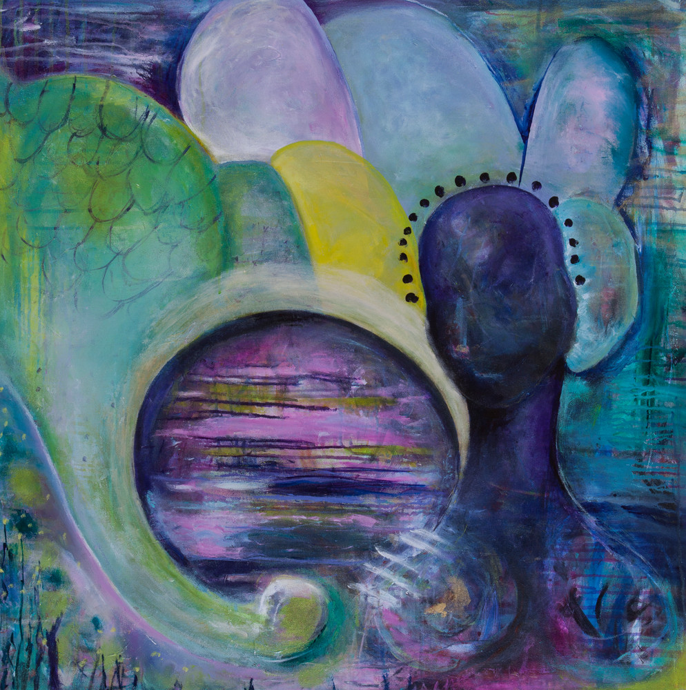 Goddess Protecting Original Abstract Art Painting Print For Sale