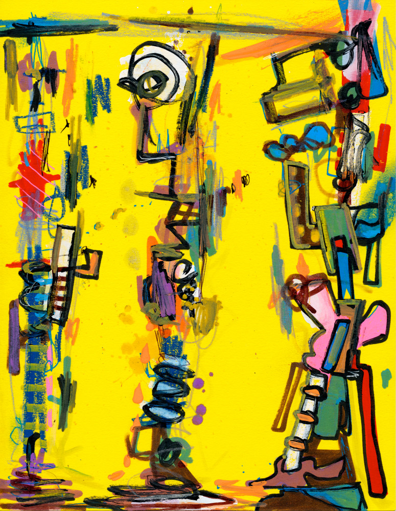 Third Wheel Abstract Painting by New York Artist Joseph Meloy
