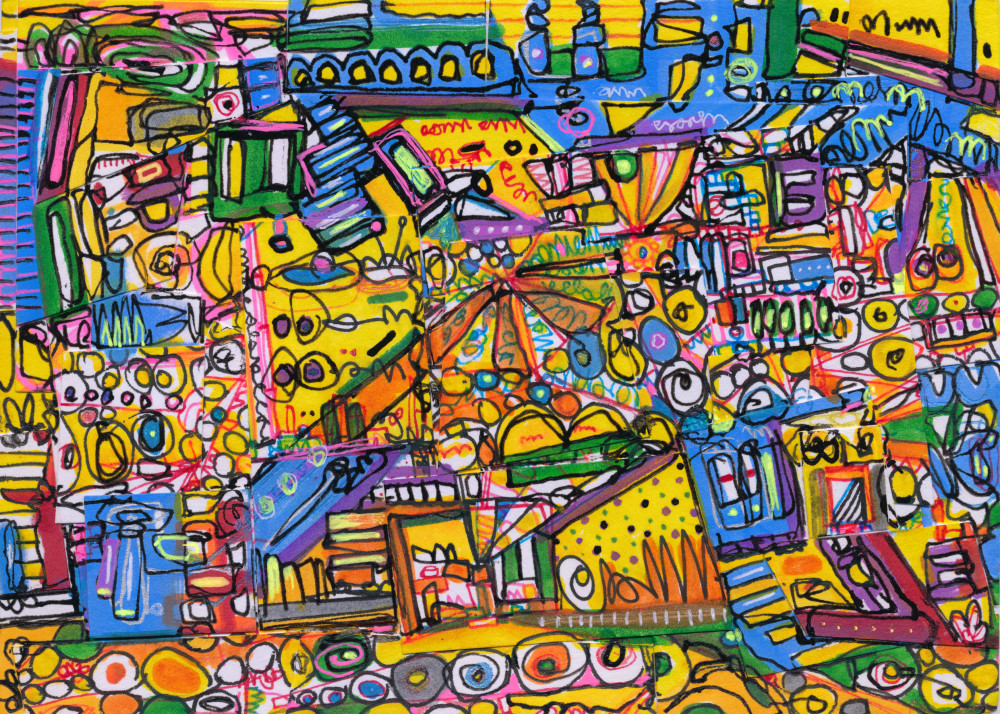 Art World Abstract Painting by Wet Paint NYC Artist Joseph Meloy