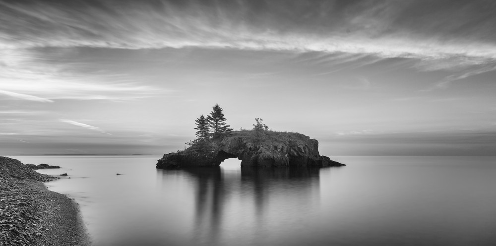 Beautiful black and white fine art photography print of Hollow Rock, Lake Superior.