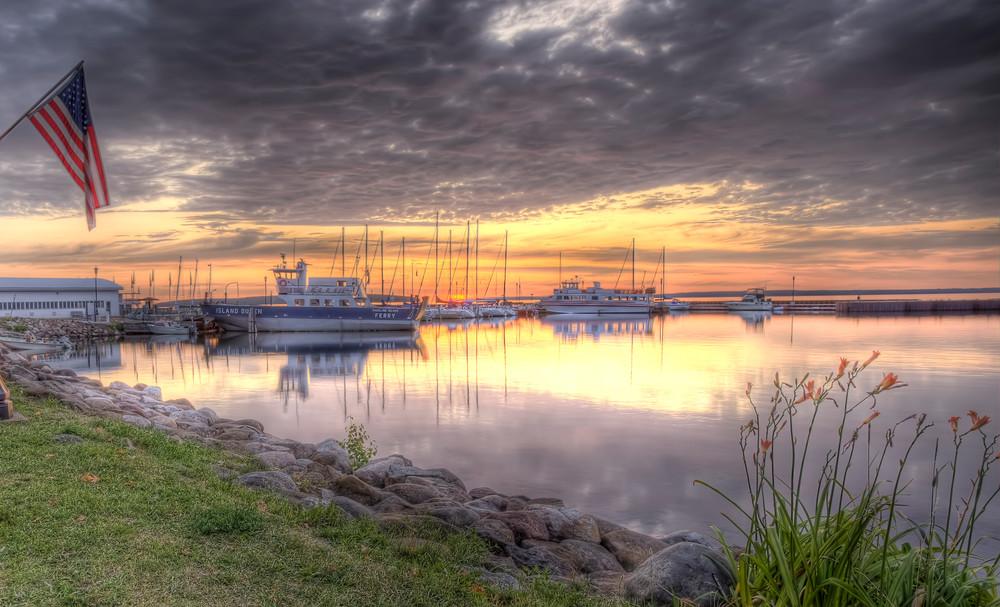 Beautiful fine art photography print of Bayfield Marina along Lake Superior at dawn.