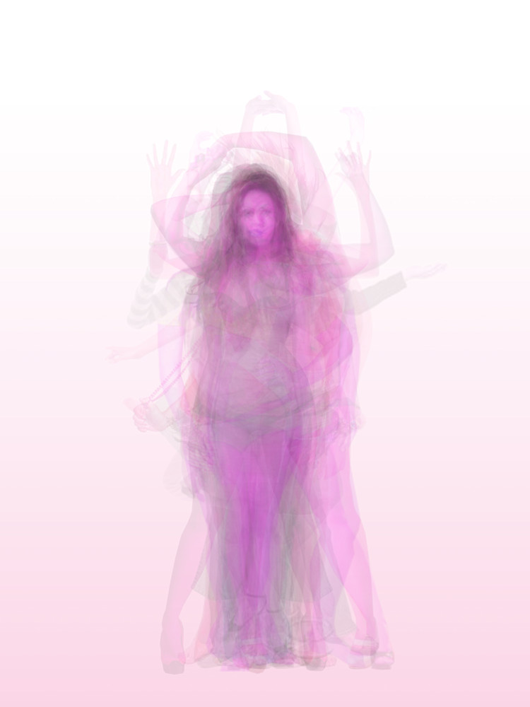 Overlay art – contemporary fine art prints of a woman's body in pink.