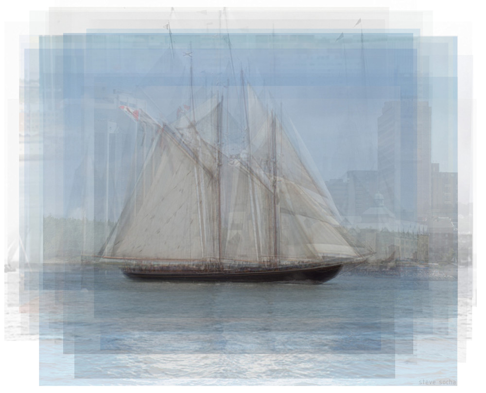 Overlay art – contemporary art prints of the historic schooner, the Bluenose ii Ship