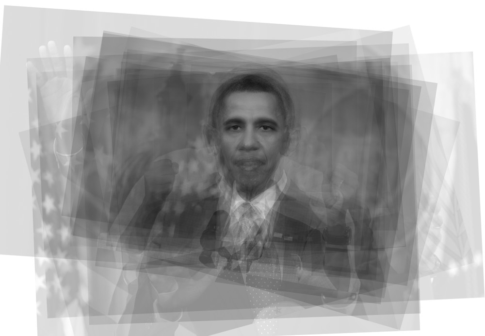 Overlay art – contemporary art prints of US President, Barack Obama.