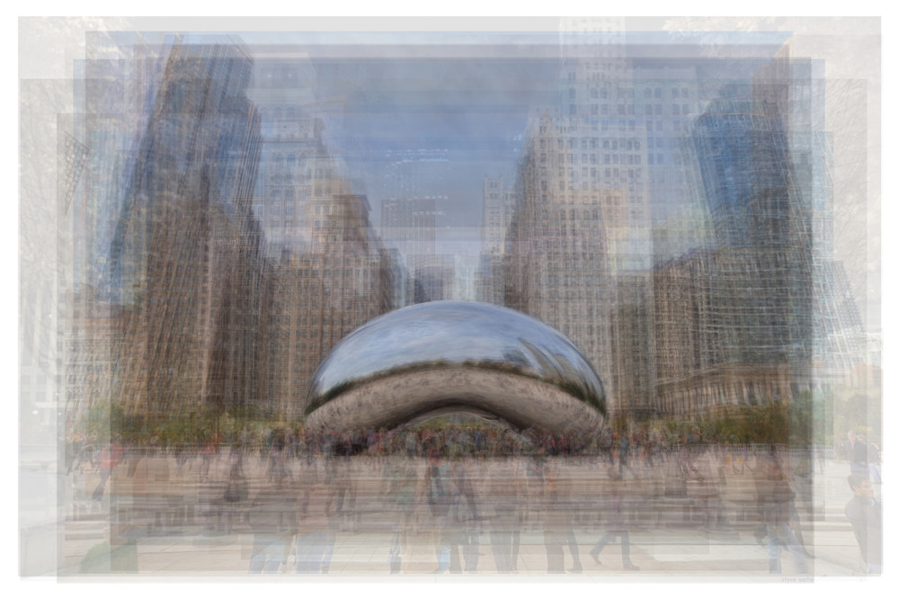 Overlay art – contemporary fine art prints of the Cloud Gate, Chicago Bean