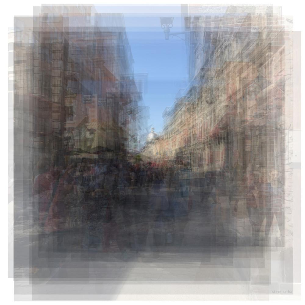 Overlay art – contemporary fine art prints of Rue St. Paul E Montreal streetscape