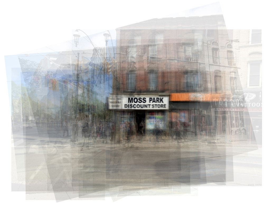 Overlay art – contemporary fine art prints of Moss Park Discount Store Toronto
