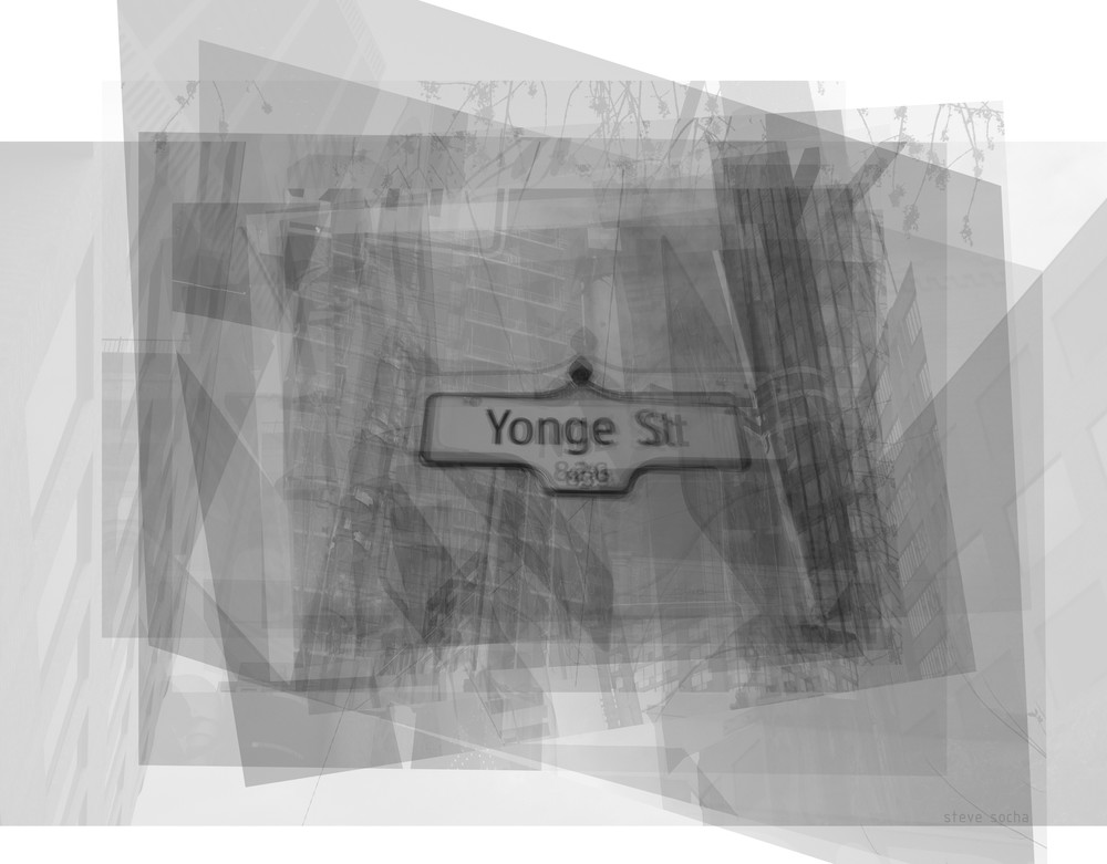 Overlay art – contemporary fine art prints of the Yonge Street Sign in Toronto
