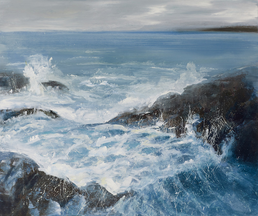 Waves breaking on the rocks at Acadia Great Head Trail painting