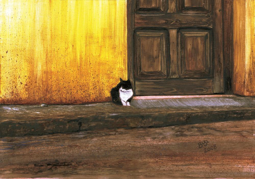 Cat Watching And Waiting Art | Blissful Bonita Art Studio & Gallery
