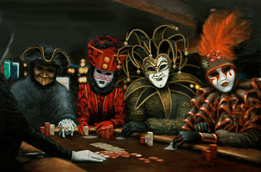Poker faces with Venetian Carnival masks - Poker Face III, brown felt, four players, art