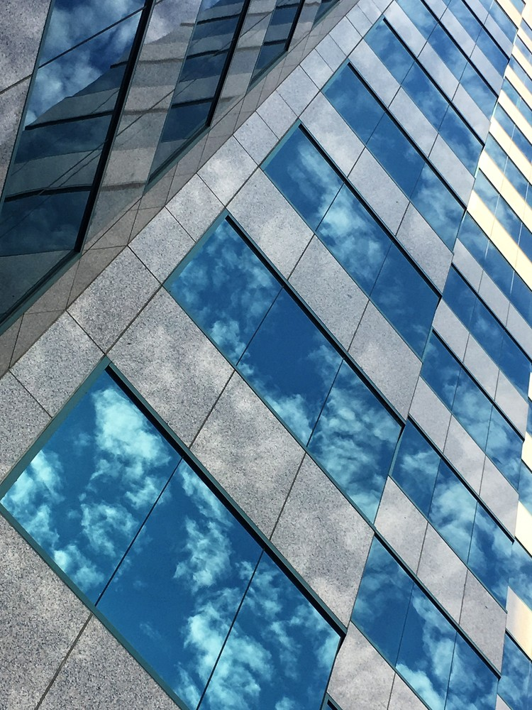 River Walk window reflection, San Jose. Available as canvas art, metal art, office art, wall art.