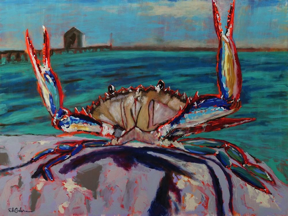 Large Blue Crab | Print Painting of Chesapeake Blue Crab On Guard
